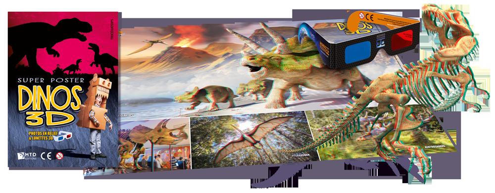 Poster 3D dinosauresanaglyphes