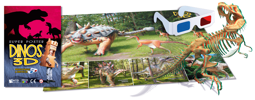 Poster 3D Dinosaures anaglyphes