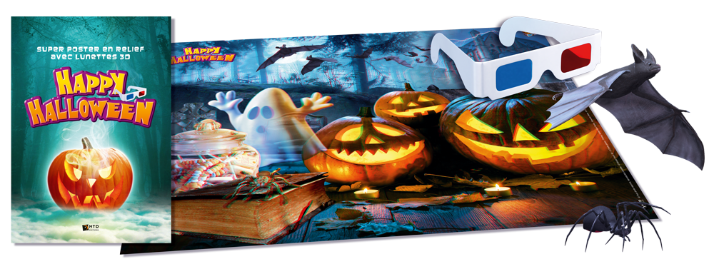 Poster Halloween + lunettes 3D pour anaglyphes